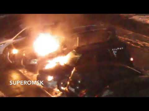 Появилось видео поджога Nissan Patrol в Омске